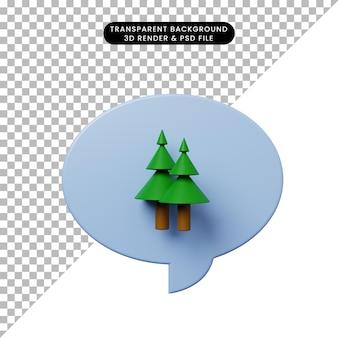 松の木と3dイラストチャットバブル