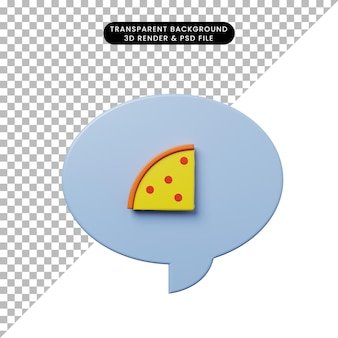ピザと3dイラストチャットバブル