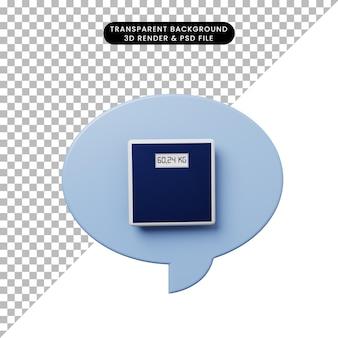 저울 무게와 3d 그림 채팅 거품