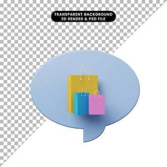 3d иллюстрации чат пузырь с хозяйственной сумкой
