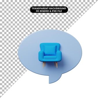 3d иллюстрации чат пузырь с одним диваном