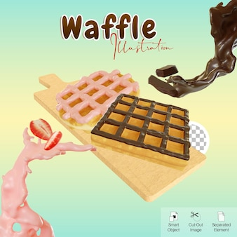 3d illustration chocolate and strawberry glazed waffle on cutting board for social media element