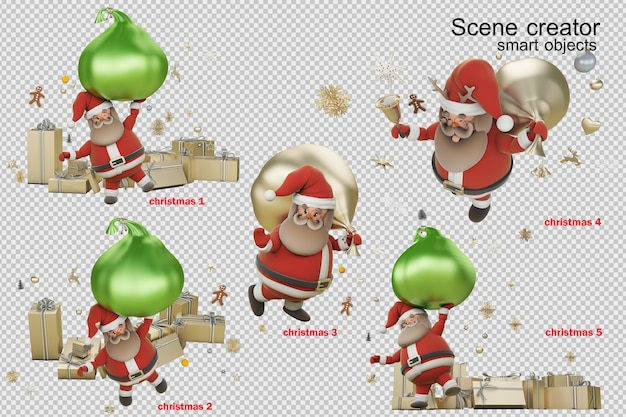 3d illustration christmas day with santa claus