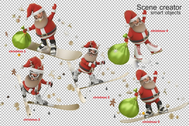 3d 그림 산타 클로스와 크리스마스 날
