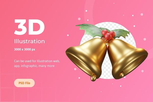 웹, 앱, 인포그래픽 등을 위한 3d 일러스트레이션 크리스마스 개체, 꽃 포인세티아가 있는 벨