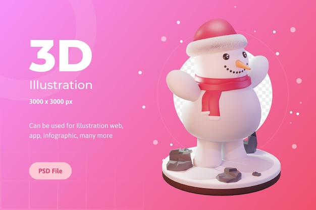 3dイラスト、クリスマスオブジェクト、キャップ付き雪だるま、ウェブ、アプリ、広告など