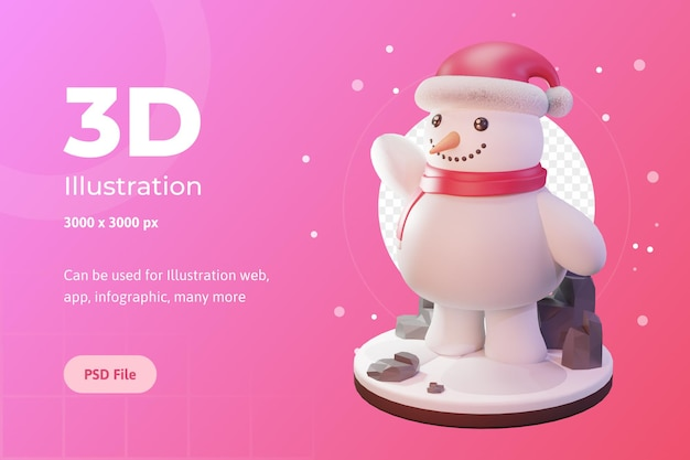 3d illustration, christmas object, snowman with cap, for web, app, advertising, etc