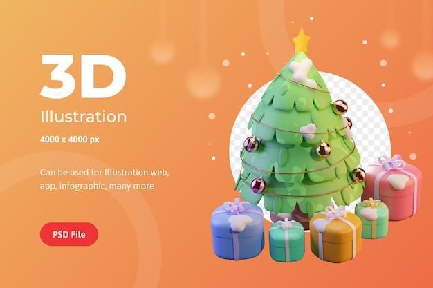 3dイラストクリスマスツリーとウェブアプリのインフォグラフィック広告に使用されるスター付きギフト