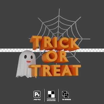 3d illustration concept of halloween event trick or treat ghost spider web isolated