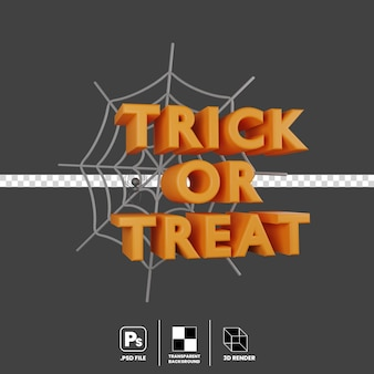 3d illustration concept of halloween event trick or treat spider web isolated