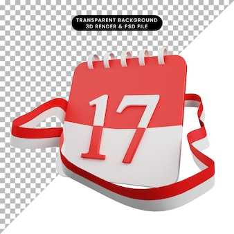 3d illustration of concept independence day indonesian calendar with 17 date and ribbon flag indonesian