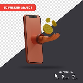 オンラインショッピングの3dイラストコンセプト。オンラインマーケットからお金を稼ぐ。
