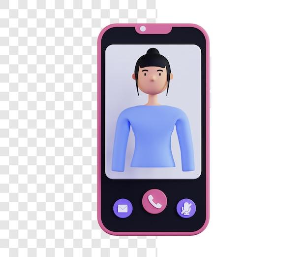 여자와 영상 통화의 3d 일러스트 개념