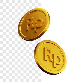 3d illustration concept of two gold rupiah coins