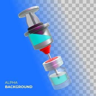 Illustrazione 3d. vaccinazione informativa contro il coronavirus