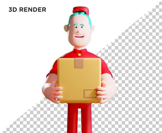 3d illustration courier delivery concept