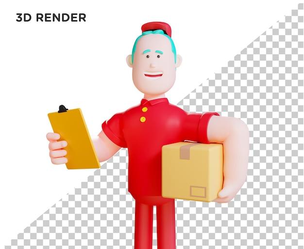 3d illustration courier