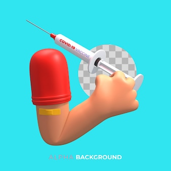 Illustrazione 3d. campagna di vaccinazione contro il covid