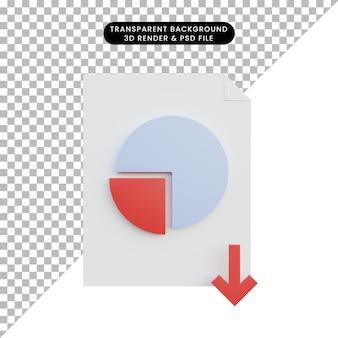 Стрелка вниз отчета данных 3d иллюстрации