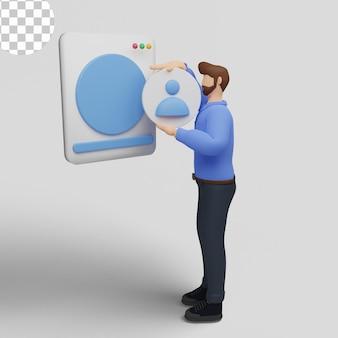3dイラストデジタルマーケティングの概念