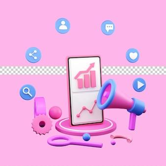 3d illustration of digital marketing or online advertising for landing page