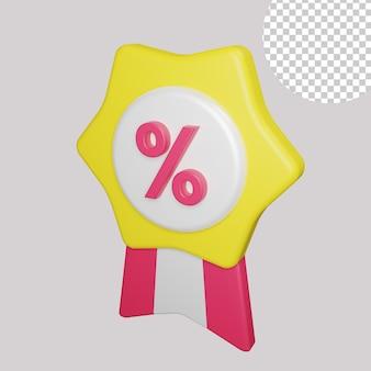 3d illustration of discount badge