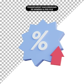3d illustration discount icon with badge and arrow up