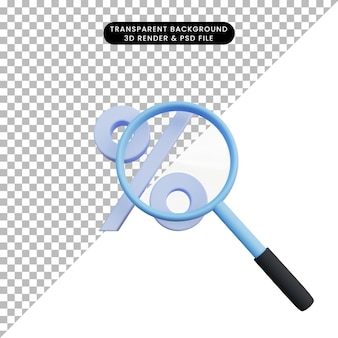 3d illustration discount icon with magnifying zoom