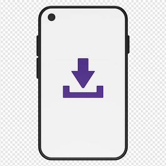 3d illustration of download in smartphone icon psd