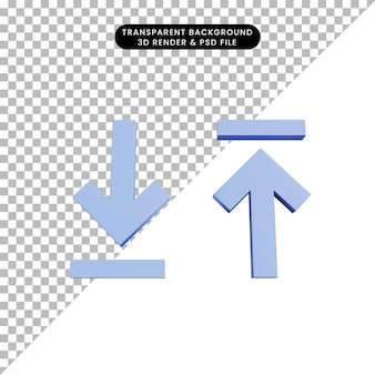 3d illustration download and upload icon