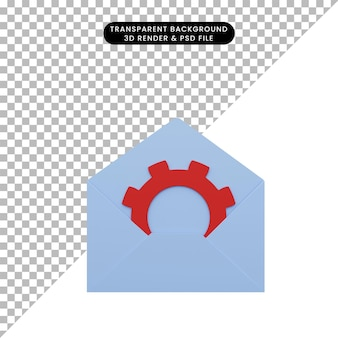 3d illustration of envelope with gear