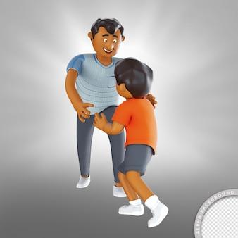 幸せな父の日に遊んでいる 3 d イラストの父と息子