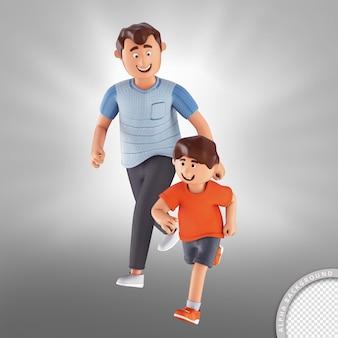 並んで歩く3dイラストの父と息子