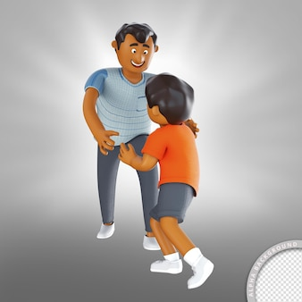 3d illustration father and son playing happy fathers day