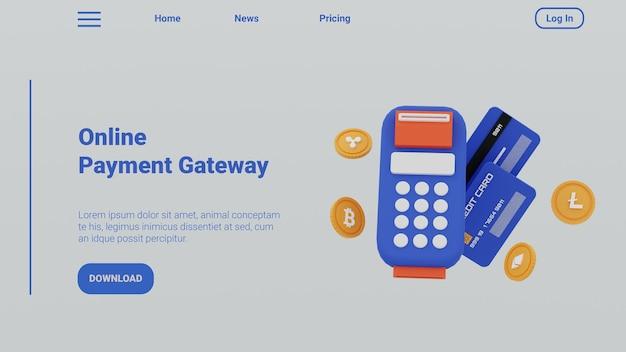 3d illustration financial online payment gateway