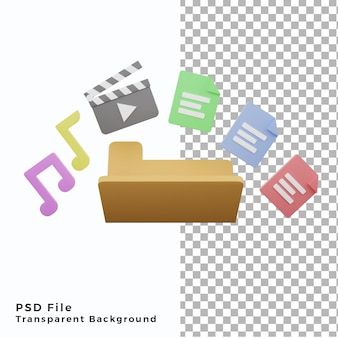 3d illustration folder with many files document movie music icon element assets