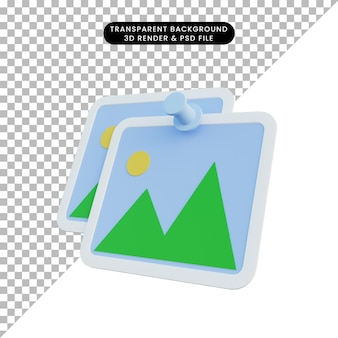 3d illustration of gallery icon with pin