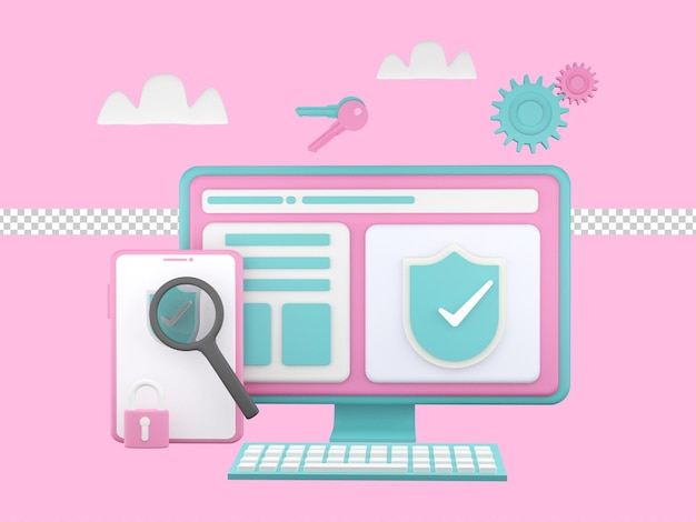 3d 그림, 글로벌 데이터 보안, 개인 데이터 보안, 사이버 데이터 보안 온라인 개념 그림, 프리미엄 psd