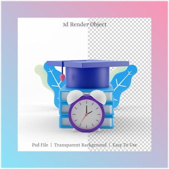3d illustration of graduation hat and time with back to school concept