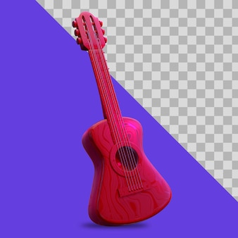 3d illustration guitar red color clipping path