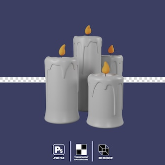 3d illustration halloween candles isolate