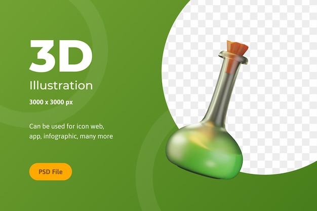 3dイラストレーションハロウィーン、化学ボトル、ウェブ、アプリ、お祝いなど