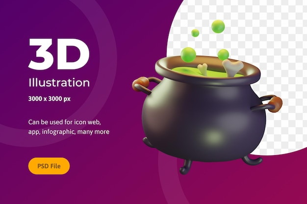 3d иллюстрации хэллоуин, горшок с косточкой, для интернета, приложения, праздника и т. д.
