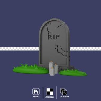 3d illustration halloween gravestone