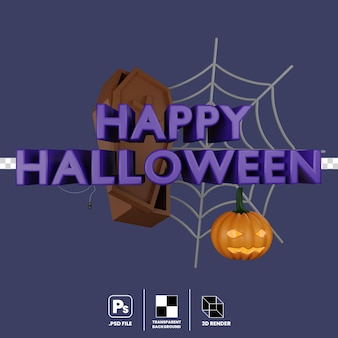 3d illustration of halloween party spider web coffin and pumpkin isolated