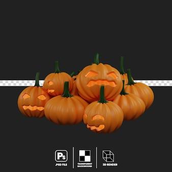 3d illustration of halloween pumpkin pile isolate