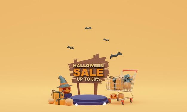 3d иллюстрация хэллоуин распродажа стенд