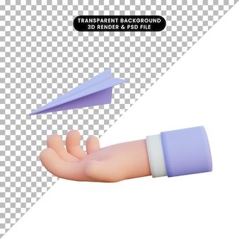 3d иллюстрации бумажные самолетики поймать руку