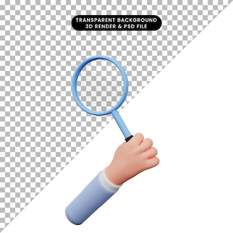 3d illustration of hand holding magnifying