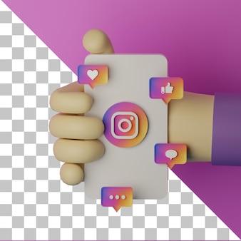 Instag 로고가 있는 휴대 전화를 들고 3d 그림 손은 배경 마케팅 개념을 렌더링합니다.